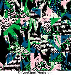 Trendy seamless exotic pattern with palm and animal prins