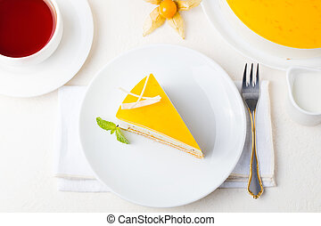Passion fruit cake, mousse dessert. Top view. - Passion...
