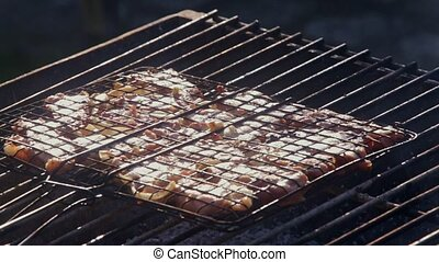 Closeup Delicious Barbecue Roasted on Open Flame - closeup...