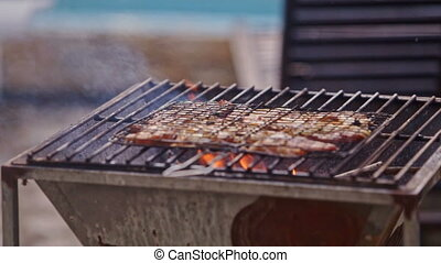 Meat Roasts on Fire on Barbecue Grid Guy Blows - meat roasts...