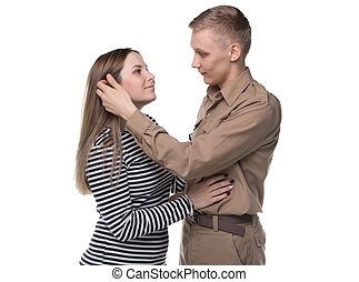 Young woman and blond man in love
