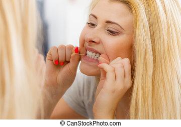 婦女, 她, 牙齒, 粗絲, 清掃, 牙齒, 使用