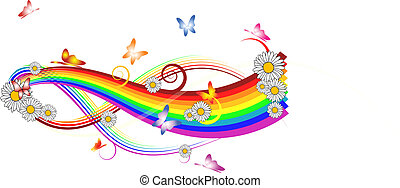 Rainbow with flowers and butterflies