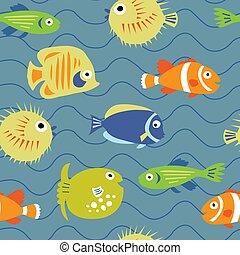 Cute seamless texture with coral fishes on a blue background...