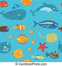 Cute seamless texture with cartoon fish on a blue background...