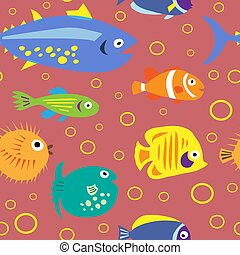 Cute seamless pattern with cartoon fish on a pink background...