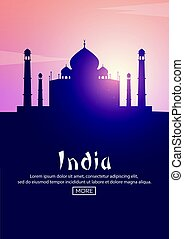 Travel poster to India. Landmarks silhouettes. Vector...
