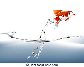 goldfish - A goldfish jumping out of the water to escape to...