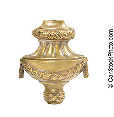Old brass candle holder on white background
