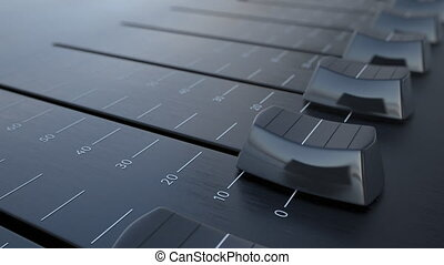 Sliding fader with safety inscription, macro. Conceptual 4K...