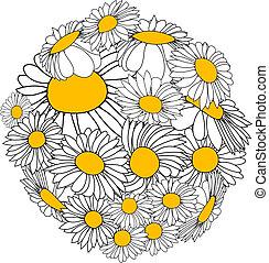 Flower sphere - Sphere made from white marguerites