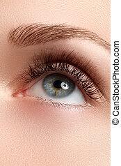 Macro shot of beautiful eye with extremely long eyelashes