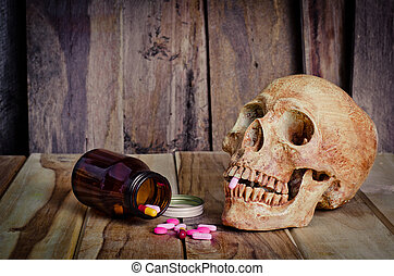 Skull and medicine. Sickness and danger of abuse