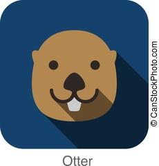 Otter animal face flat design