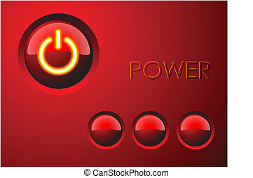 Red power button with three other buttons
