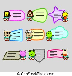 cute animals labels, note