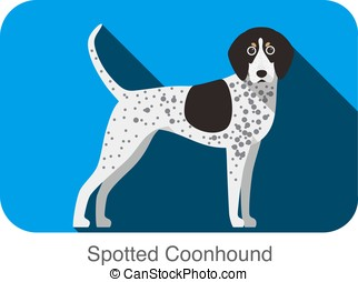 Spotted Coonhound, dog standing flat icon design