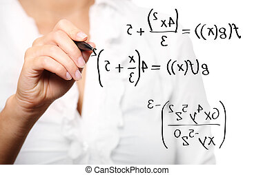 Toung teacher solving a mathematical equation - A picture of...
