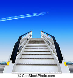ramp - frontal view of white ramp in airport and fly away...