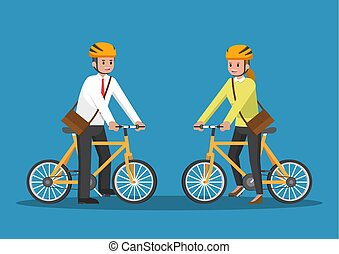 Businessman and businesswoman riding bicycle.