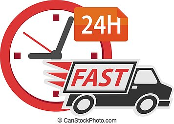 Delivery truck 24h, conceptual vector illustration