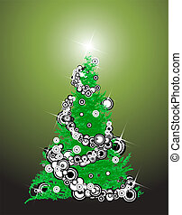 Abstract christmas tree with decorations