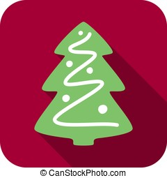 Christmas tree, snow on the branch, vector