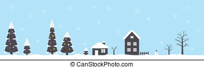 winter, Christmas with snow, forest, house,