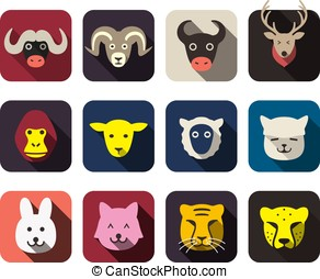 animal face flat icon set