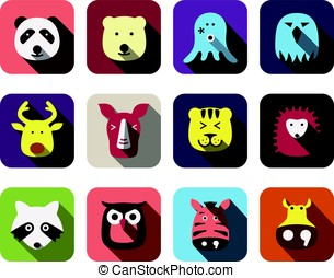 animal face flat icon set,