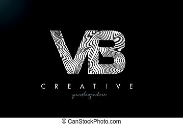 VB V B Letter Logo with Zebra Lines Texture Design Vector. -...