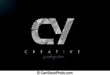 CY C Y Letter Logo with Zebra Lines Texture Design Vector. -...