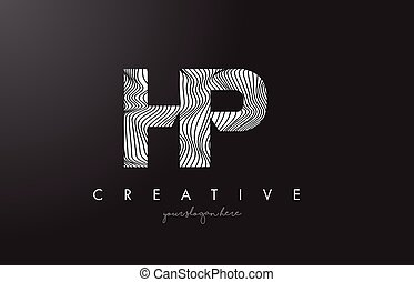 HP H P Letter Logo with Zebra Lines Texture Design Vector. -...