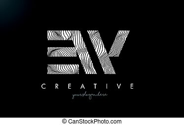 EW E W Letter Logo with Zebra Lines Texture Design Vector. -...