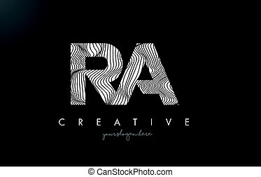 RA R Q Letter Logo with Zebra Lines Texture Design Vector. -...