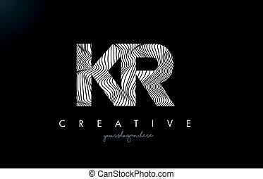 KR K R Letter Logo with Zebra Lines Texture Design Vector. -...