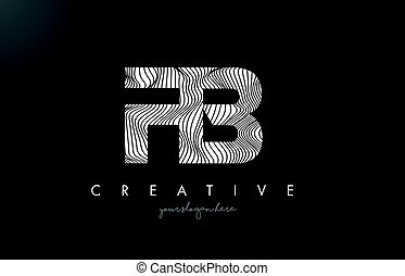 FB F B Letter Logo with Zebra Lines Texture Design Vector. -...
