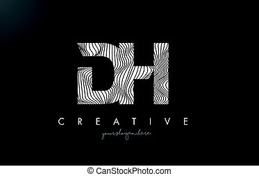 DH D H Letter Logo with Zebra Lines Texture Design Vector. -...