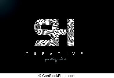 SH S H Letter Logo with Zebra Lines Texture Design Vector. -...