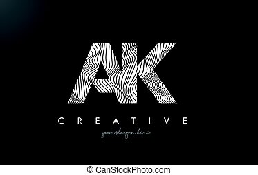AK A K Letter Logo with Zebra Lines Texture Design Vector. -...