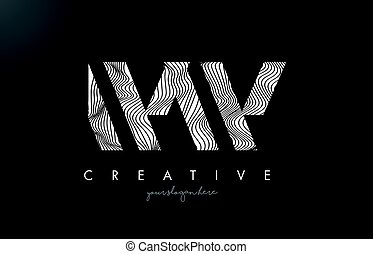 WW W Letter Logo with Zebra Lines Texture Design Vector. -...