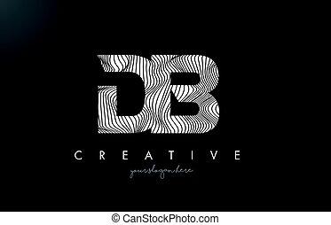 DB D B Letter Logo with Zebra Lines Texture Design Vector. -...