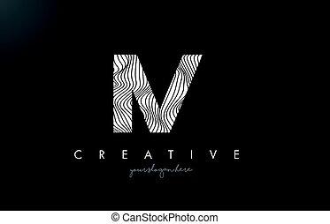 IV I V Letter Logo with Zebra Lines Texture Design Vector. -...