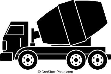 Truck concrete mixer icon simple - Truck concrete mixer icon...