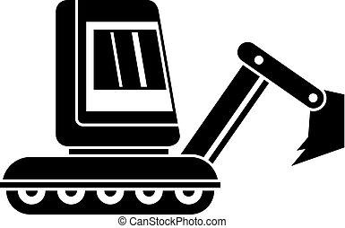 Mini excavator icon simple - Mini excavator icon in simple...