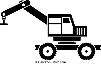 Crane truck icon simple - Crane truck icon in simple style...