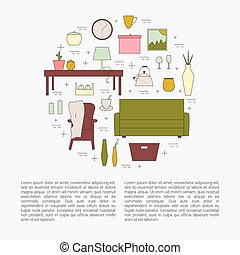 Interior Design concept. Homewares line icon set. Vector...