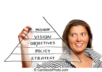 Young woman drawing a business pyramid - A picture of a...