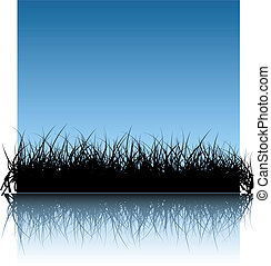 Blue vector grass background with reflections in the water