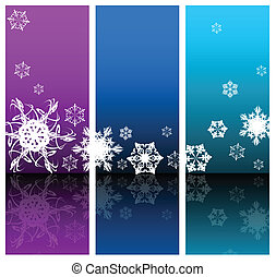 Winter Abstract background with snowflakes three colors